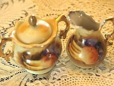 Vintage Enesco E2351 Mini Sugar Bowl with Lid and Creamer Fruit Design-D