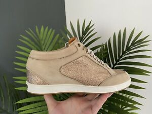 Jimmy Choo Miami Nude Fine Glitter & Suede Trainers  Size 5.5/38.5  New RRP £375