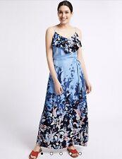 M&S Per Una Floral Print Ruffle Maxi Dress UK 18 Regular New