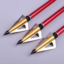 6pcs 125 Grain Hunting Crossbow Arrow Broadhead 3 Fixed Blades Archery Tips