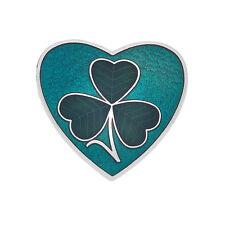 Shamrock Heart Brooch in Gift Box New Celtic Lands Silver Tone Green Enamel