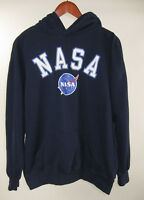 NASA Graphic Logo Blue Hoodie L/S Pullover Sweatshirt size L Large