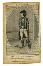 "5"" Antique 1793 Engraving Mr. Fawcett as Jack  Nightshade The Choleric Man"