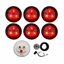 """6 PACK of CLEAR/RED LED 2"""" ROUND MARKER/CLEARANCE LIGHTS TRAILER RV FREE SHIP"""