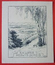 "Ex libris, bookplate ""Hedwig Griesmar"" paisaje"
