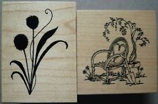 Great Impressions Rubber Stamps, Willow Chair & Clover Silhouette Flowers