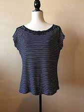 Chaps Navy White Stripe T-shirt Knit Top Cap Sleeve Lace neck Size XL EUC