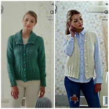 KNITTING PATTERN Ladies Cable Jacket & V-Neck Waistcoat Aran King Cole 4818