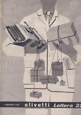 Pubblicità anni 50 cinquanta OLIVETTI LETTERA 22 macchina da scrivere design