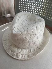 baby gap Girls White Crochet Fedora Hat Off White Size M/L