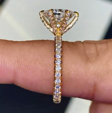 Engagement Ring 14K Yellow Gold Over 3Ct Oval Cut Moissanite Six Prong Solitaire