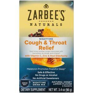 Zarbee's Naturals Cough & Throat Relief Nighttime Drink Mix, Honey Lemon, 6 PK.