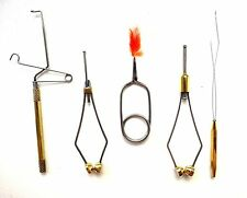 5+ Fly Tying Tools Set: Spring Whip Finisher, Ceramic Bobbin, Hackle Plier etc