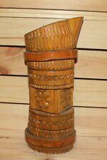 Vintage hand carving wood floral candle holder