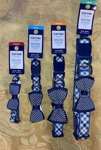 Top Paw Nylon Dog Collar (Blue Plaid with Bow)