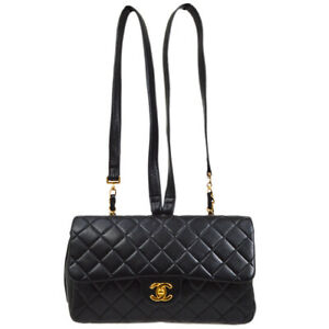 CHANEL Classic Flap Backpack Bag Quilted Chain Lambskin Black France A44038e