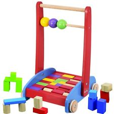 Baby Walker Activity Wooden Block Cart & Abacus Learning Toddler Colourful Toy