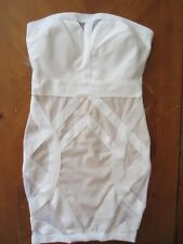 WOMENS BEBE WHITE STUNNING STRAPLESS BANDAGE DRESS STRETCH FITTED SMALL S NEW