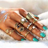 10Pcs/set Women Boho Vintage Crystal Punk Finger Midi Band Punk Knuckle Rings