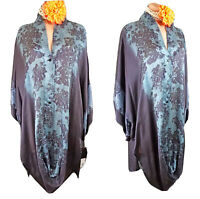 Johnny Was tunic Top S SILK Blue Tie die Over size Bohemian Formal Evening NWT