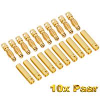 20 Stück 10 Paar 4mm 4,0mm Goldstecker Stecker Bananen Buchse 4 mm Lipo Motor RC