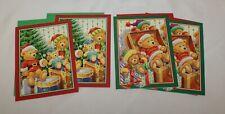Greeting Christmas Lot 4 Note Cards Teddy Bears Santa Tree Drum Toy Chest Unused