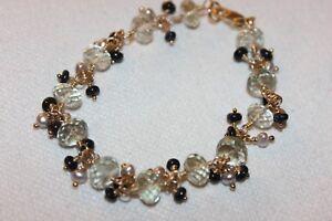 Beautiful Hand Made Green Amethyst Black Opal Bracelet,Gold Filled,USA,Free Ship