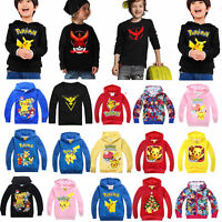 Kinder Jungen Mädchen Pokemon Go Jacke Mantel Kapuzenpullover Sweatshirt Pulli