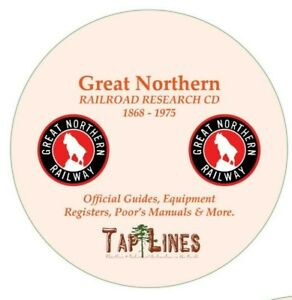 GREAT NORTHERN RAILWAY OFFICIAL GUIDES,  EQUIPMENT REGISTERS & RESEARCH ON DVD