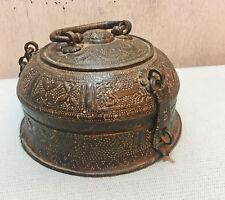 Original Old Antique Brass Decorative Engraved Floral Chapati Bread Box