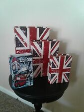 NEW-Set of 3 Union Jack Themed Storage Nesting Boxes by Bellas, w/extra box
