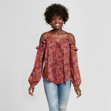 New Xhilaration Women's Embroidered Cold Shoulder Top Off Shoulder Berry Size S