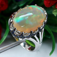 NATURAL 12 X 17 mm. WHITE RAINBOW OPAL & BLUE SAPPHIRE RING RING 925 SILVER