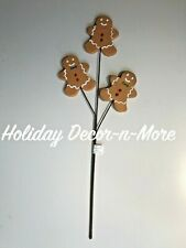 "23"" XMAS GINGERBREAD FLORAL SUPPLY PICK STEM SPRAY WREATH ARRANGEMENT TREE DECOR"