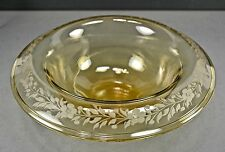 Depression Glass Yellow-Amber Console/Centerpiece Bowl, Rolled Etched Rim