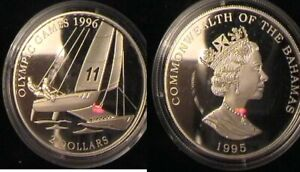 BAHAMAS for Atlanta 1996 Olympics. Silver proof coin.