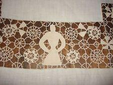 Antique Linen + Venise Point Lace w Figural People Banquet Tablecloth 11 Napkins