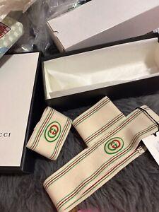Gucci Headband Sweatband Tennis GG logo Wristband Set in box size Small