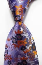 New Classic Floral  Purple Orange Black JACQUARD WOVEN Silk Men's Tie Necktie
