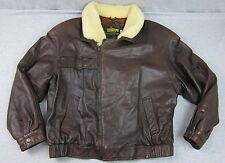 Vintage Men's Telegraph Cooper Brown Leather Jacket Coat Shearling Collar USA 44