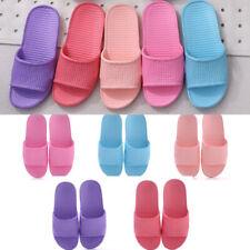 Womens Skid Proof Home Floor Slippers Indoor Stripe Flat Bathroom Bath Sandals#