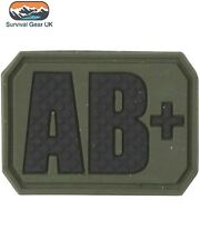 TACTICAL PVC AB+ BLOOD GROUP PATCH ARMY MEDIC BAGDE MILITARY ARMY AIRSOFT