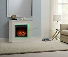 FoxHunter Electric LED Fireplace with Surround -LCD Fire with Remote White FEM01