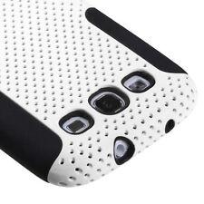 Samsung Galaxy S III 3 MESH Hybrid Silicone Rubber Skin Case Phone Cover White