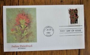 INDIAN PAINTBRUSH   WILDFLOWERS OF AMERICA 1992 FLEETWOOD CACHET FDC VF UNADDR