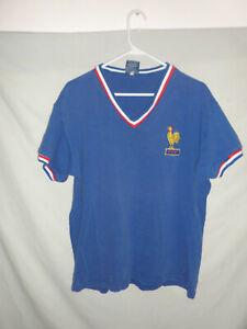 FFF France Toffs jersey shirt cotton football soccer blue v-neck National team