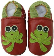 carozoo dragonfly red 18-24m soft sole leather baby shoes