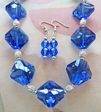 """LARGE SAPPHIRE CRYSTAL, SILVER PLATE LASER CUT BEAD necklace, earrings 18"""""""