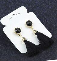 GOLD  ROUND CRYSTAL BLACK TASSEL TASSLE EARRINGS LADIES GIFT UK SELLER* B77