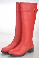 Women's Red Leather Boots Size EUR 37-42 WITH FREE BELT
